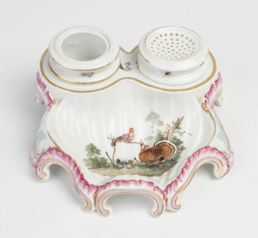 An antique French ceramic inkwell with scenes of turkey