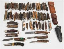 POCKET KNIVES: Collection of predominantly horn handled