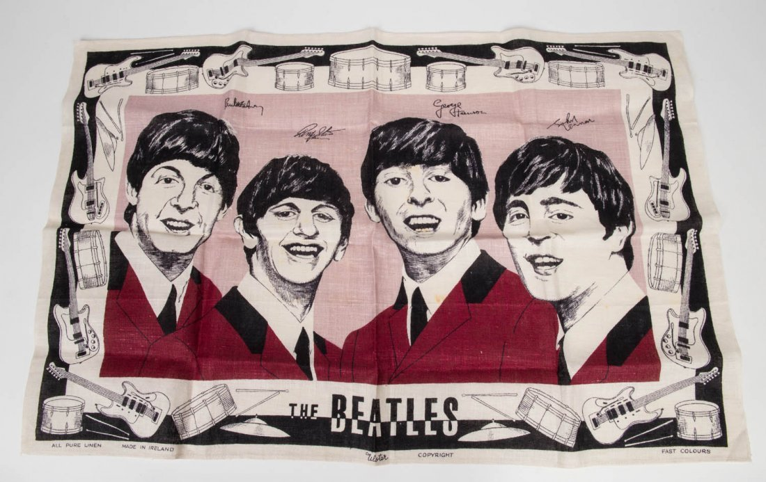 THE BEATLES: Irish linen tea towel by Ulster in unused