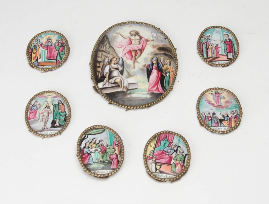 Collection of 7 Russian enamels depicting religious