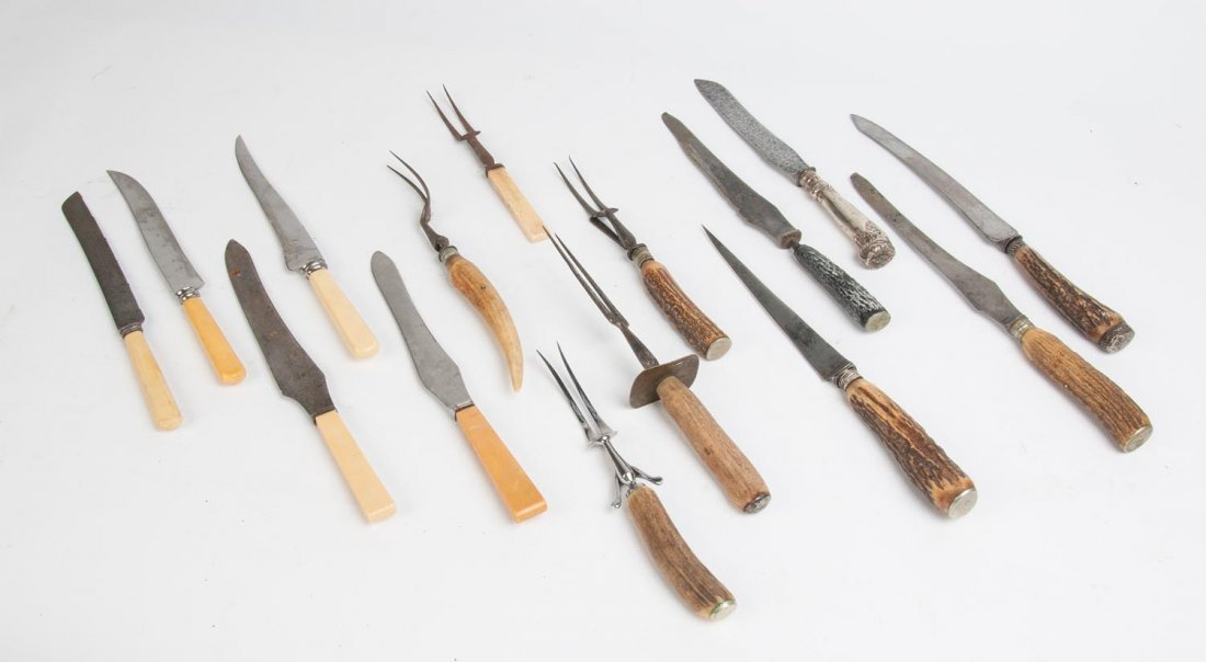 Carving knives, kitchen steels & carving forks, 19th &