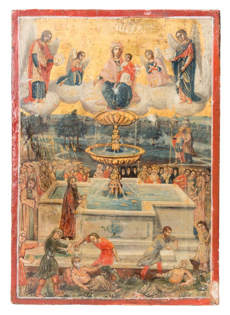 Russian icon depicting the miracle of the Pool of