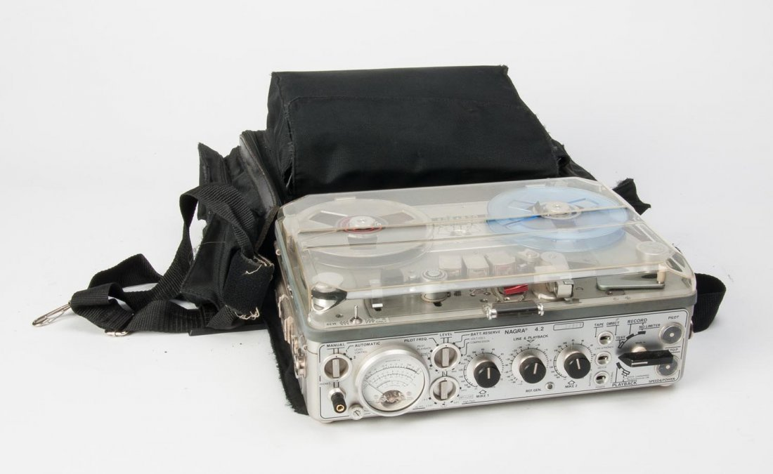 A Nagra Kudelski 4.2 tape recorder with power supply,