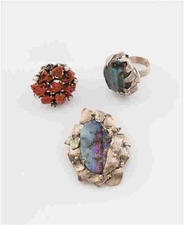 A silver and boulder opal brooch and ring of freeform