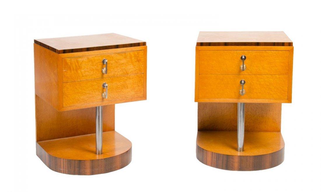 A pair of Art Deco birdseye maple bedside cabinets
