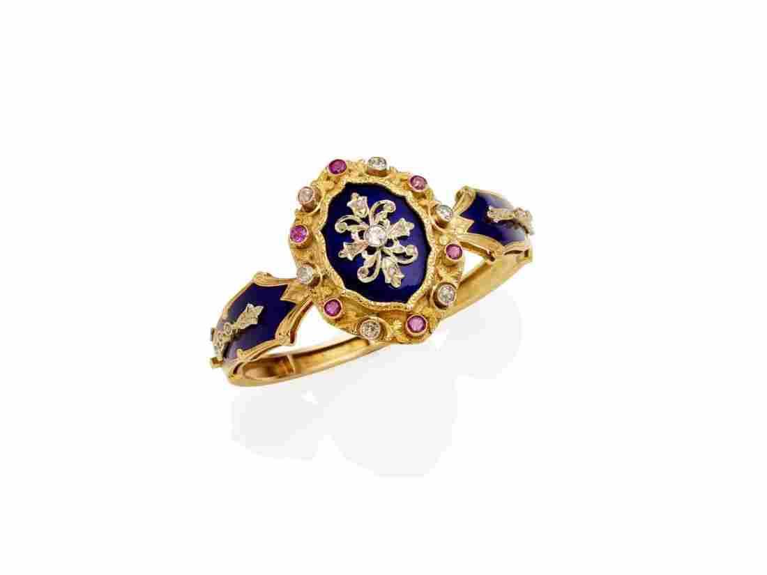 A ruby, diamond and royal blue enamel bangle, of