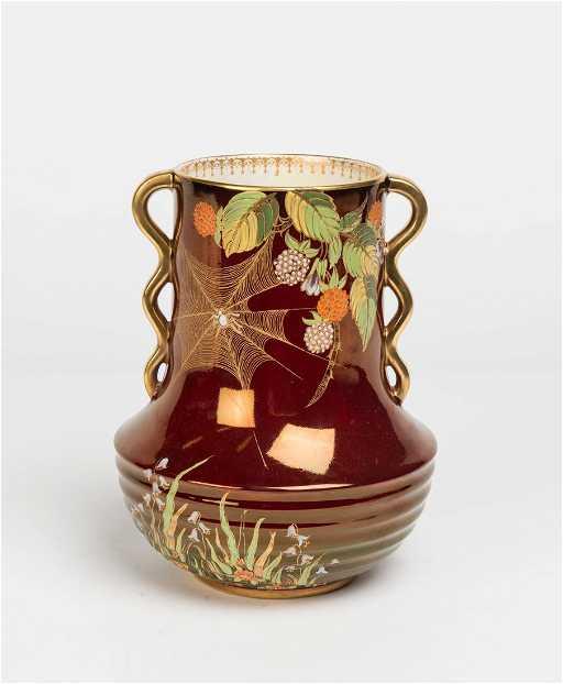 A Carlton Ware Rouge Royal Porcelain Spider Web Vase