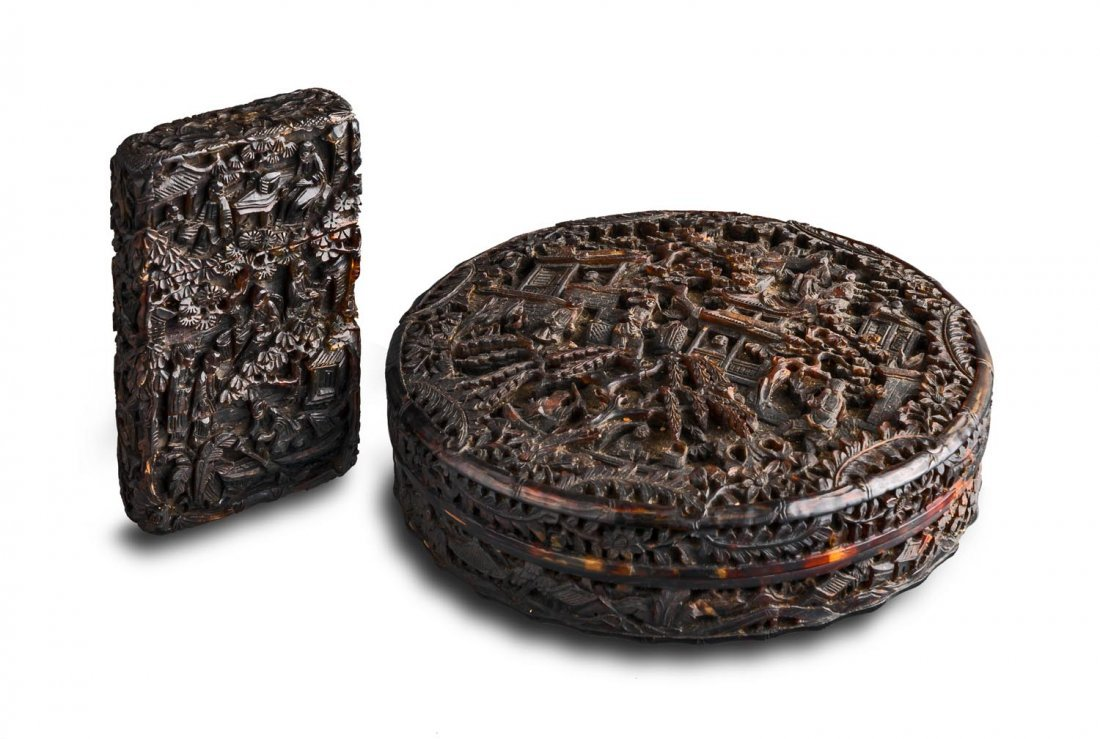 Two Chinese tortoise shell boxes late Qing dynasty,