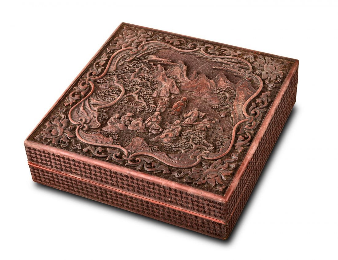 A Chinese cinnabar lacquer square box, Qing dynasty,