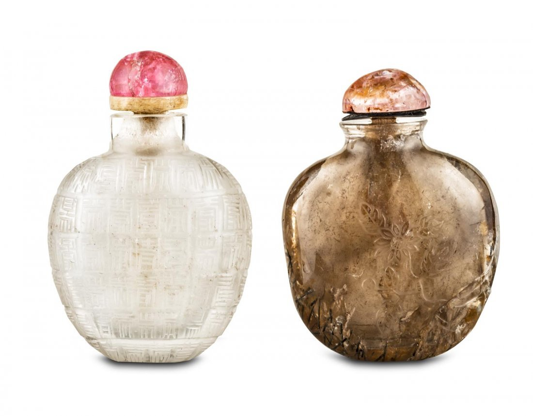 Two rock crystal snuff bottles, 19th Century