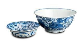 Two blue and white porcelain one barbed kraak saucer