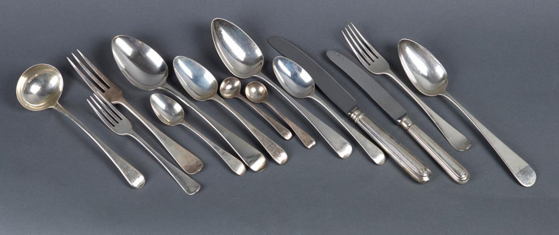 A sterling silver Old English pattern cutlery service,