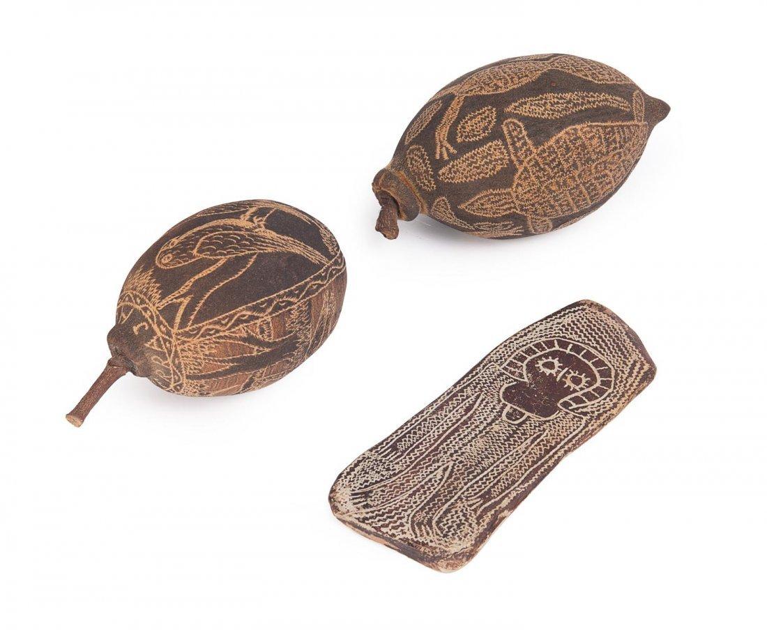 JACK WHERRA carved boab nut plus carved nut & stone
