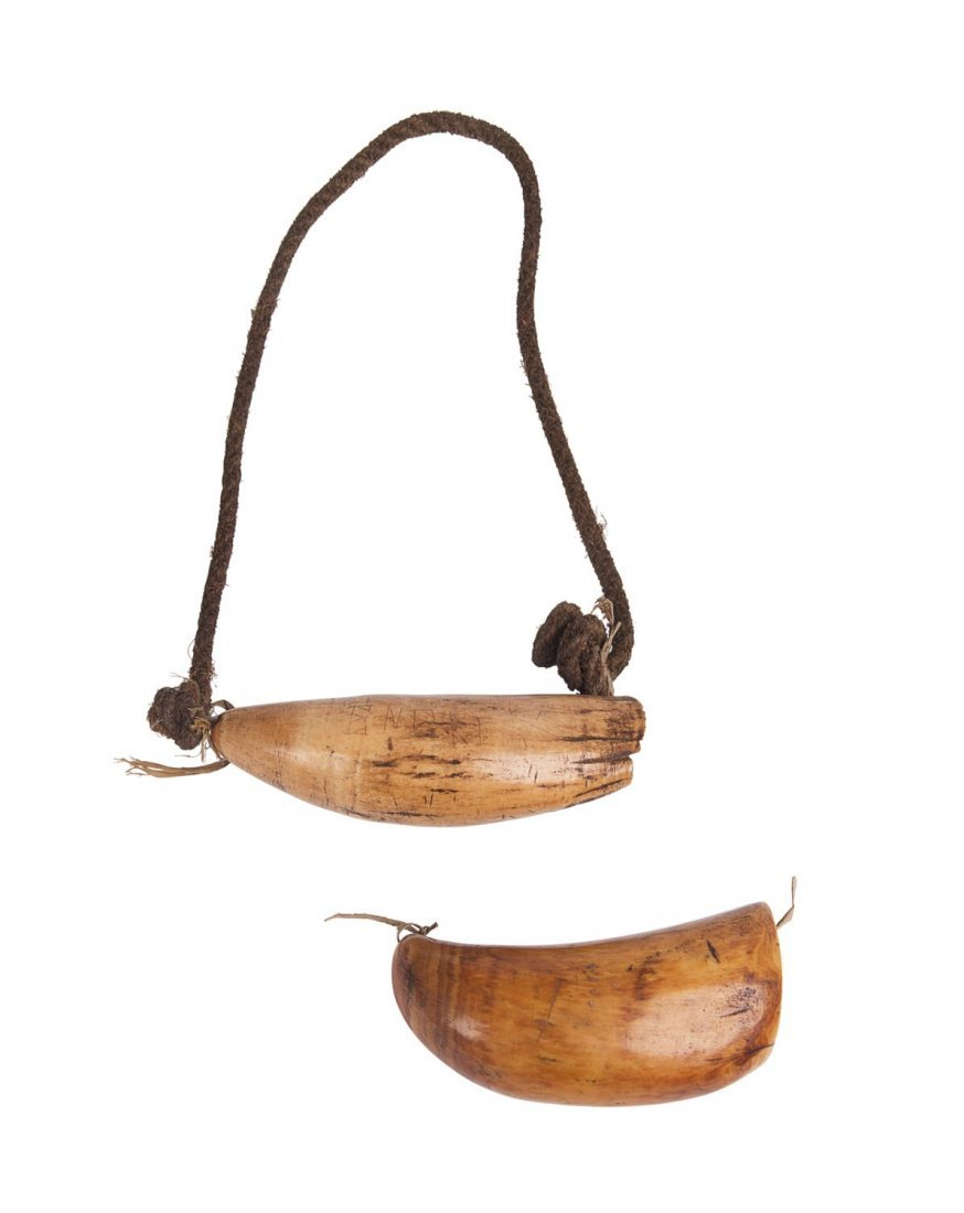 Two Fijian Tabua whales tooth chieftains necklaces (1