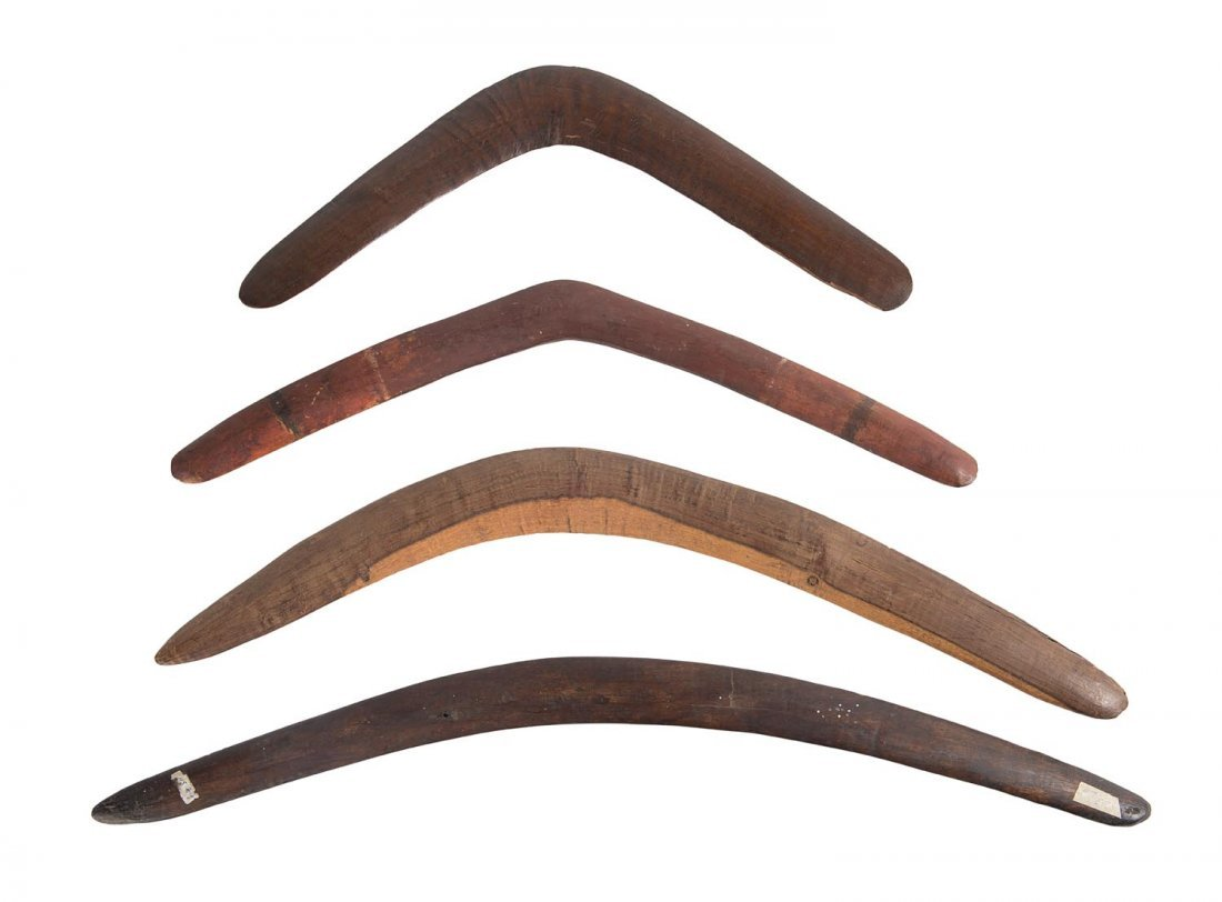 A group of 4 boomerangs, South East Australian origin,