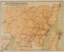 """RAILWAYS: """"Map of New South Wales Railways showing"""