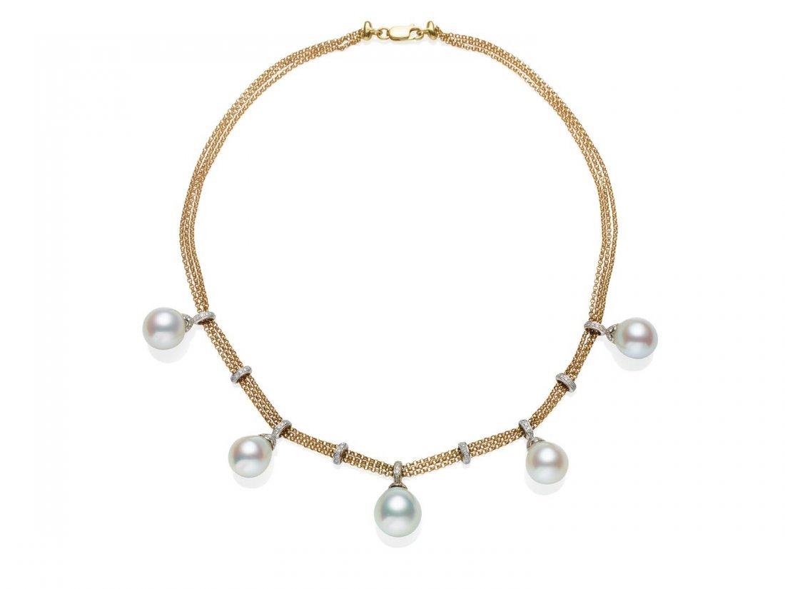 A South Sea pearl and diamond necklace, the fine triple