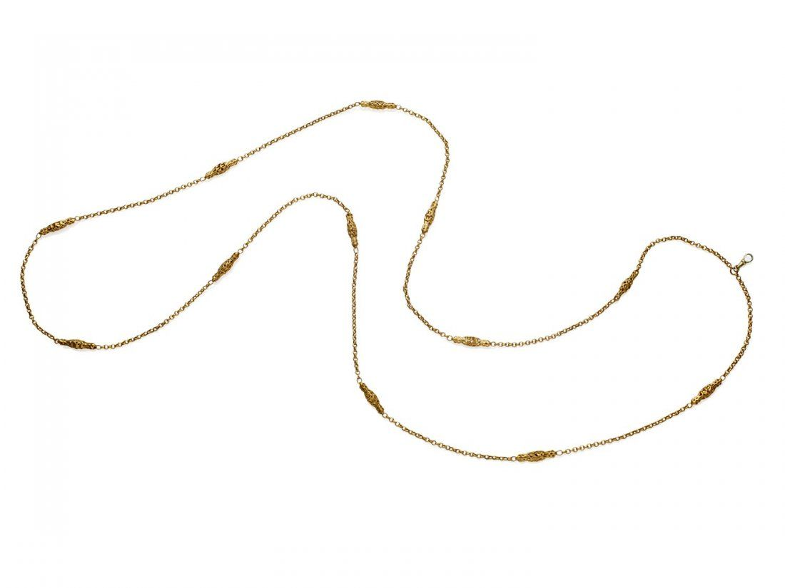 A gold Victorian guard chain, of belcher and pierced