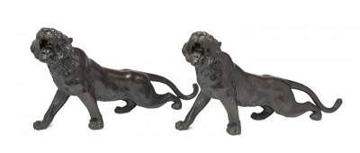 A pair of bronze figures of tigers by Gyokko
