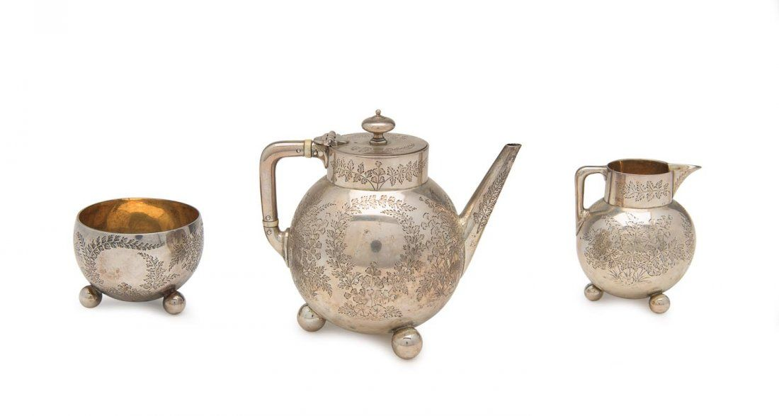 A Victorian sterling silver three piece bachelor tea