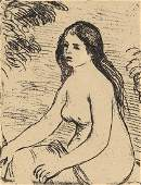 RENOIR Posthumous etching of a female nude 19 x 14cm