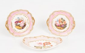 A Victorian Spode Oval Dish Painted With Flowers, 28 Cm