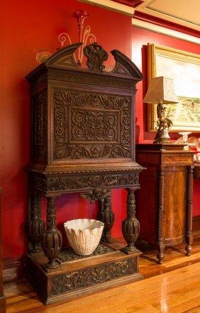 An Italian Renaissance Style Walnut Carved Bureau, With