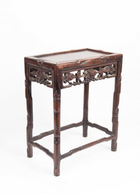 A Chinese Carved Hard Wood Stool €33 X 21 Cm, 42 Cm
