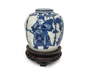 A Chinese Blue And White Bulbous Vase Painting With