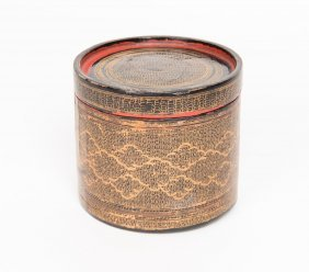 A Burmese Black Lacquer Circular Box And Cover With