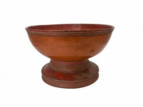A Large Thai Red Lacquer Bowl, 19th Century