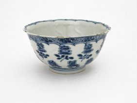 A Chinese Blue And White Bowl Painted With Flowers,