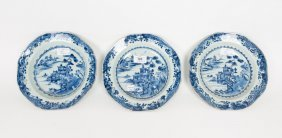A Set Of Three Chinese Blue And White Dishes, 18th
