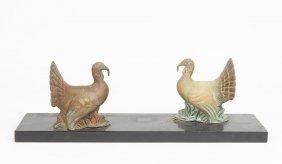 An Art Deco Pair Of Bronze Turkeys, On A Black Marble