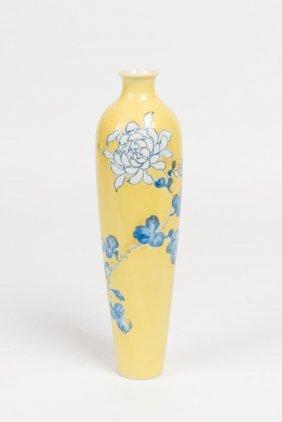 A Japanese Yellow Ground Porcelain Slender Vase