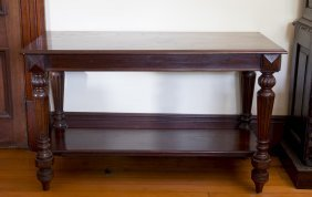 A Victorian Mahogany Rectangular Side Table On Fluted