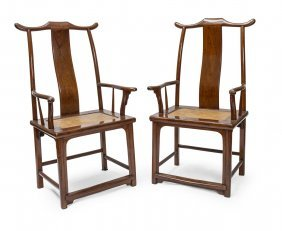 A Pair Of Chinese Hardwood Throne Chairs, 19th Century