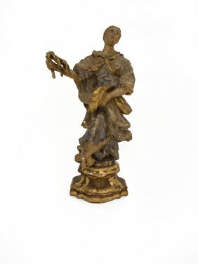 An Italian Carved Gilt Wood Gesso Figure Of A Saint,