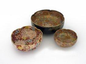 Three Japanese Satsuma Floral Bowls
