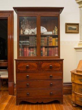 A Georgian Mahogany Secretarie Bookcase, With Plain