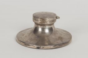 A George Vi Sterling Silver Inkwell By William Drummond