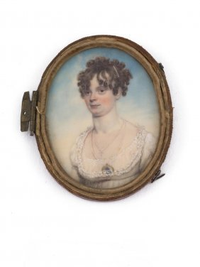 A Georgian Miniature Of A Lady With Pearl Necklace With