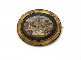 A Victorian Gold Mounted Micro Mosaic Of St Peters,