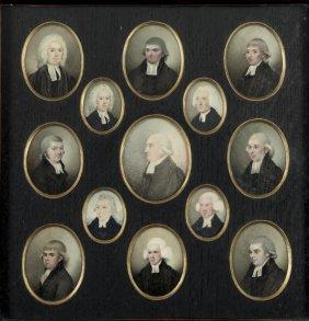 A Framed Collection Of Thirteen Georgian Miniatures Of