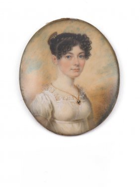 A Georgian Miniature Of A Young Woman With Curly Hair
