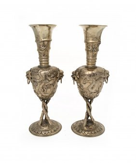A Pair Of Chinese Silver Two Handled Vases Decorated
