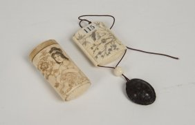 Two Japanese Ivory Inros, One Carved And Tinted With An