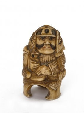 A Chinese Ivory Figure Of A Warrior