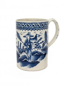 A Large English Blue And White Mug Decorated With A