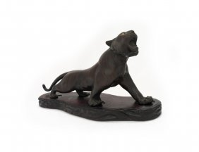 A Japanese Bronze Figure Of A Pacing Tiger, Meiji